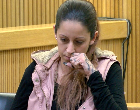 Elizabeth Pinto pauses during her testimony during the trial of Jerry H. Spaulding, Ebenezer Byrd and Gregory Jean-Baptiste for the 2009 Neptune City murder of Jonelle Melton, a Red Bank school teacher in State Superior Court in Freehold Wednesday, January 30, 2019.  She was the driver of the car that took the defendants to and from the murder scene.