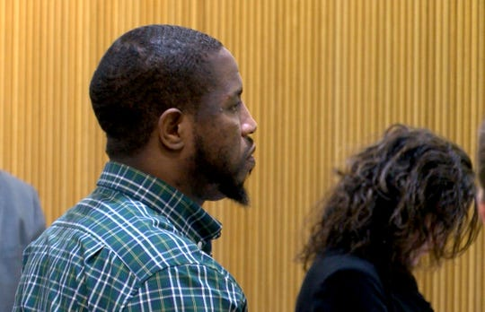 Ebenezer Byrd is shown during his trial for the 2009 Neptune City murder of Jonelle Melton, a Red Bank school teacher in State Superior Court in Freehold Wednesday, January 30, 2019.  Also charged are  Jerry H. Spaulding and Gregory Jean-Baptiste.