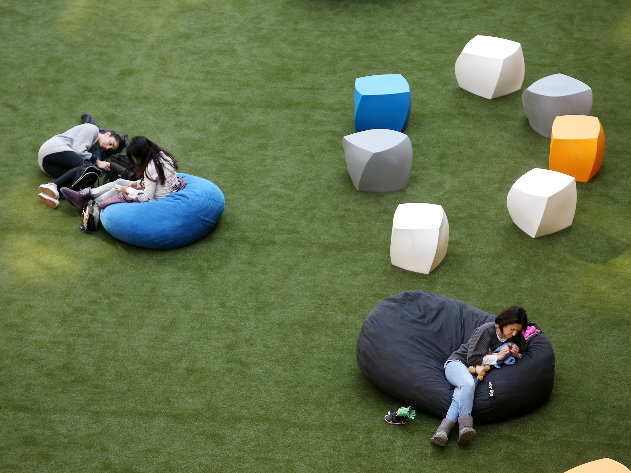 Employees and visitors relax in the common space at Bell Works in Holmdel, NJ Thursday January 31, 2019. Bell Works versus Fort Monmouth. Who's winning? The Shore's two biggest redevelopment projects got underway at about the same time, but Bell Works has pulled far ahead in the race.