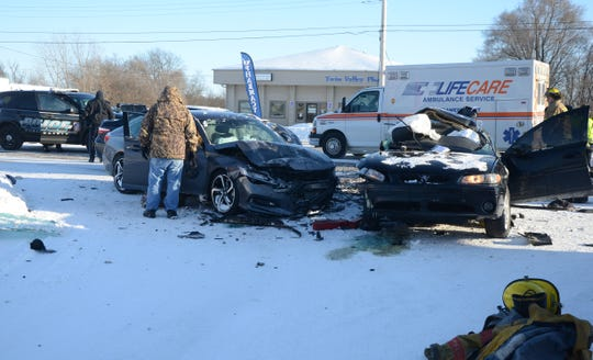 Two Battle Creek women died in this crash Wednesday in Emmett Township.
