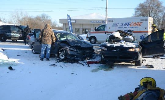 Two Battle Creek women died in this crash Wednesday in Emmett Township.