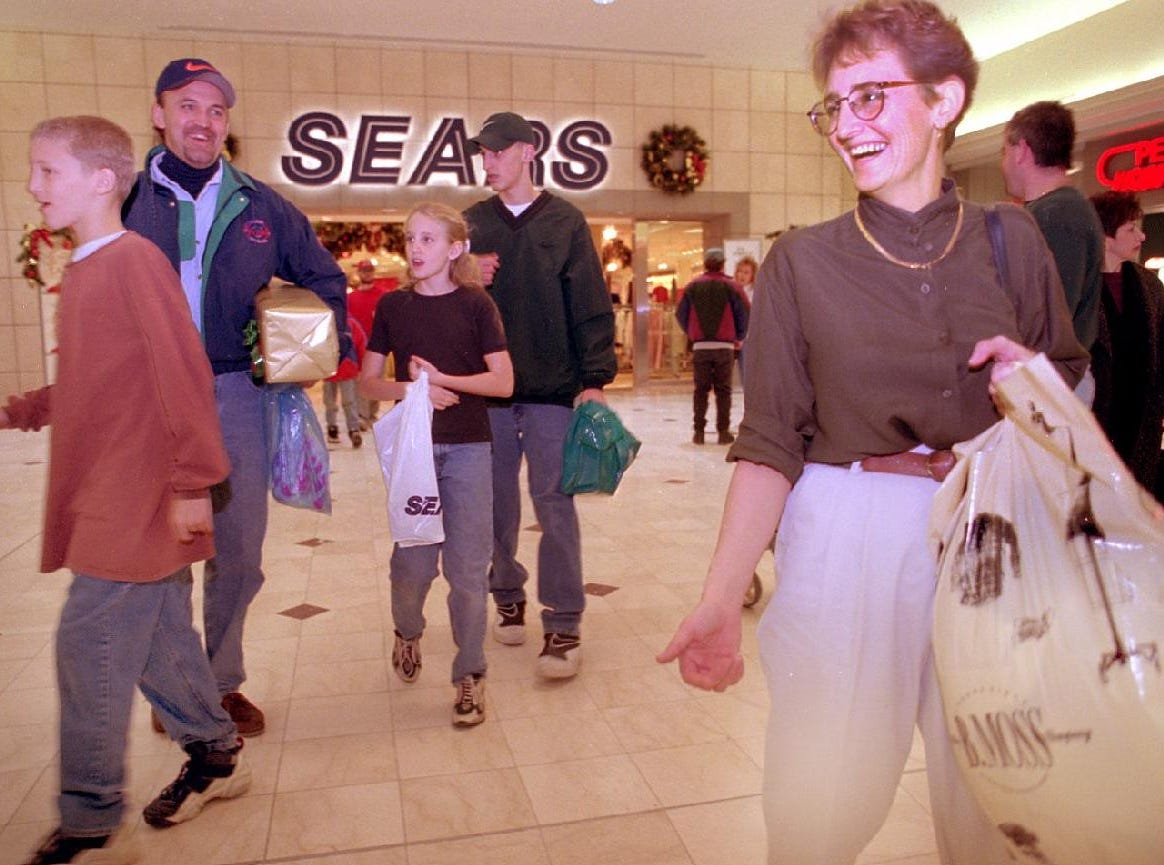 The Conant family designated Dec. 22, 1996 as their only shopping day for the season. Driving down from their home in Norwich to the Oakdale mall has become a family tradition, said the Conants. Pictured left to right are Jordan, 14, dad Barry, Brittney, 11, Spencer, 16, and mom Pam.