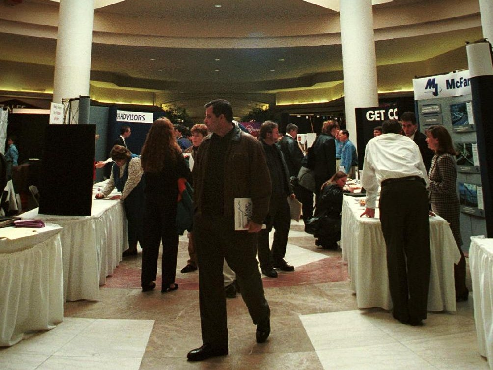 Center court of the Oakdale Mall was full of employers looking for prospective employees during the job fair on Dec. 28, 1998.