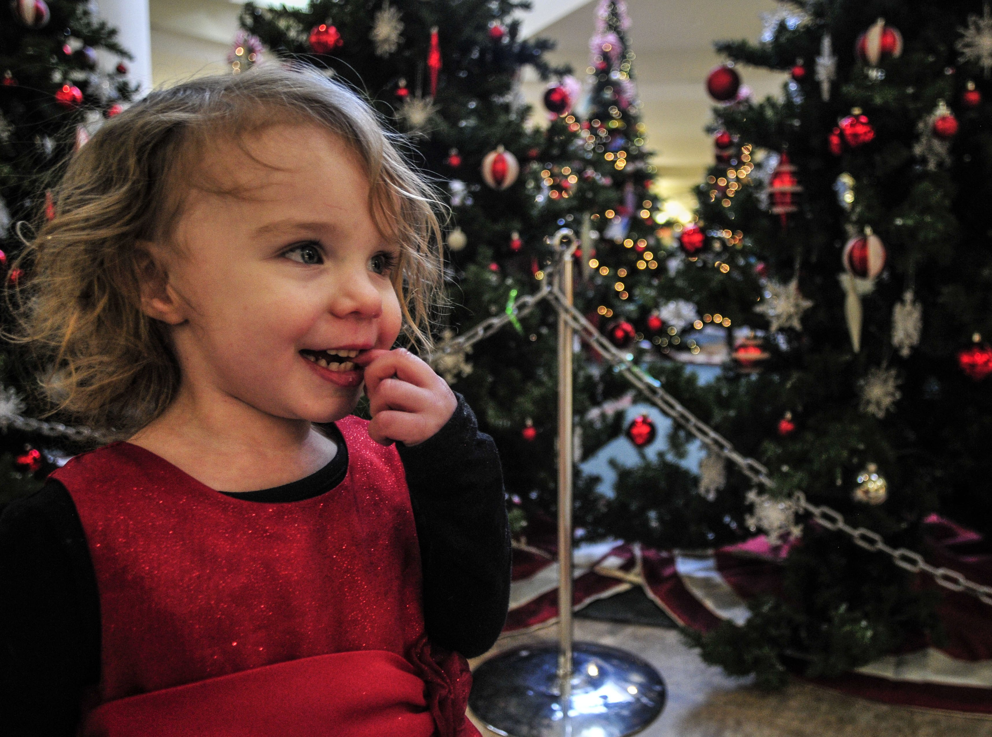 Ryann Barber, 1, from Hallstead, Pa., waits to see Santa Claus at the Oakdale Mall in December of 2013.