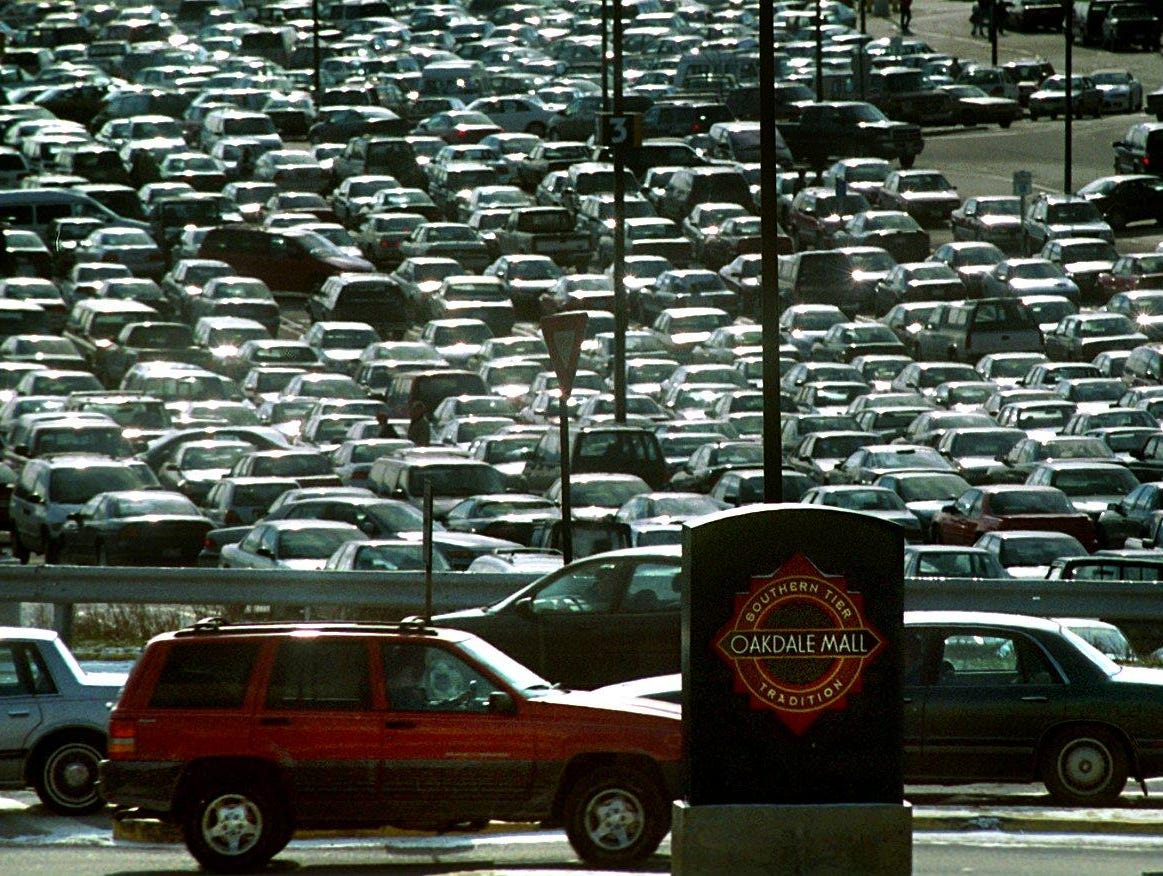 The parking lot was nearly full at the Oakdale Mall on the final day of shopping before Christmas on Dec. 24, 1999.