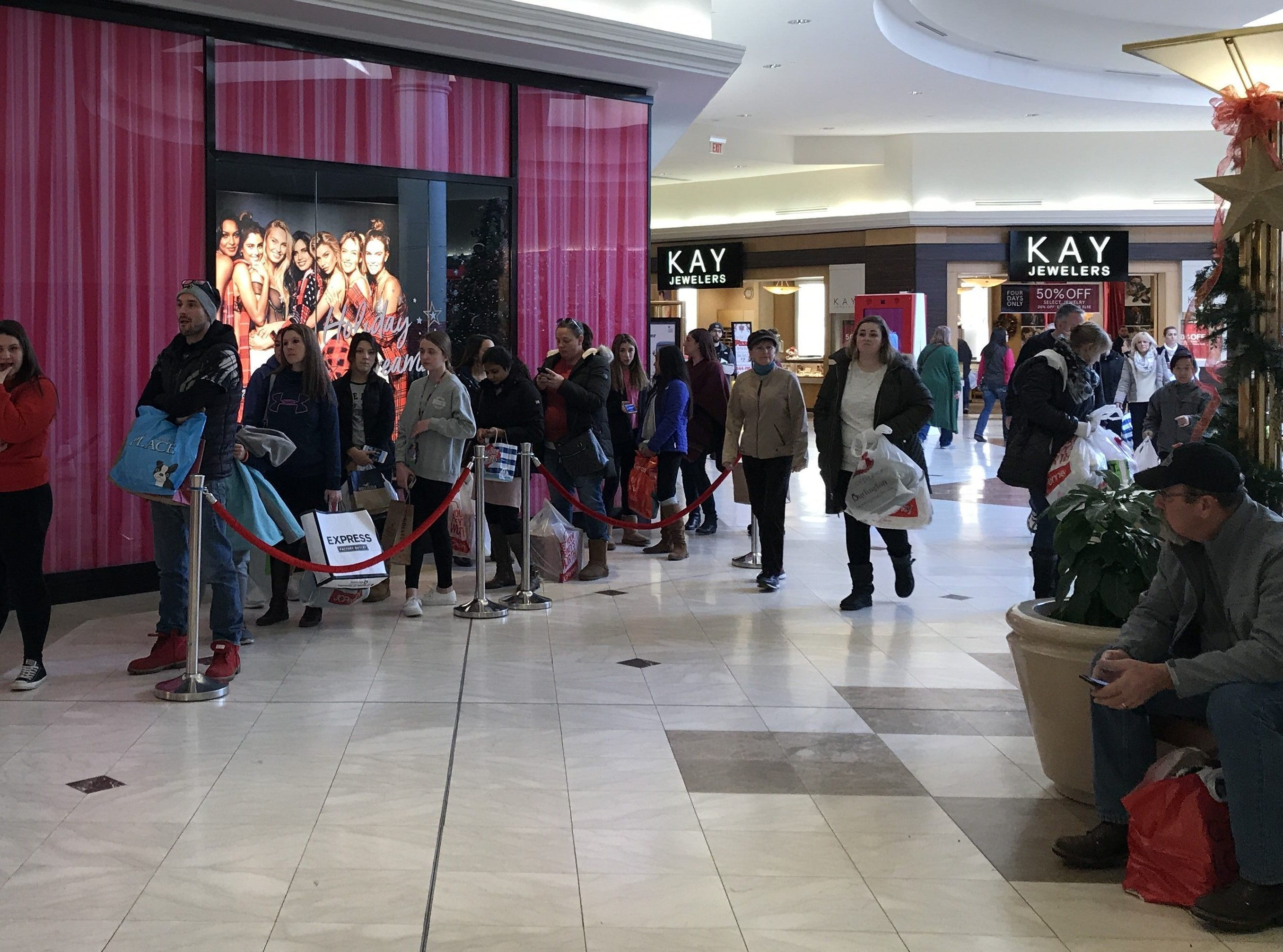 Shoppers line up for Black Friday deals at the Pink / Victoria's Secret store at the Oakdale Mall in Johnson City on Nov. 24, 2018.