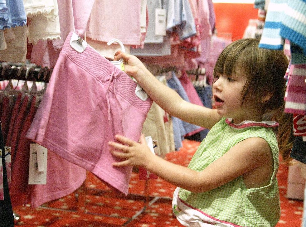 Isabella Herb 2 of Binghamton looks at back to school clothing Kaufmann's in the Oakdale Mall in Johnson City for back to school shopping on August 29, 2004.