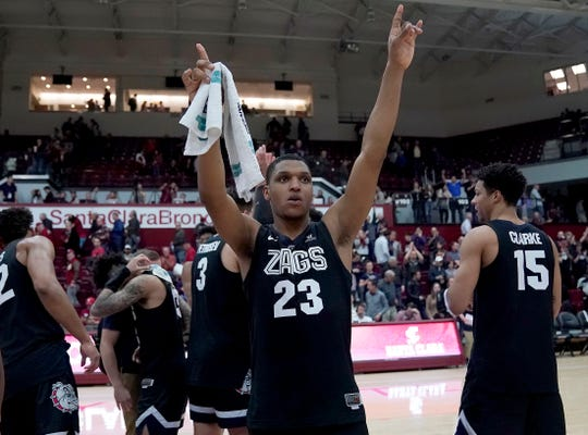 Gonzaga guard Zach Norvell Jr. (23) celebrates the team's 98-39 victory over Santa Clara in an NCAA college basketball game Thursday, Jan. 24, 2019, in Santa Clara, Calif.