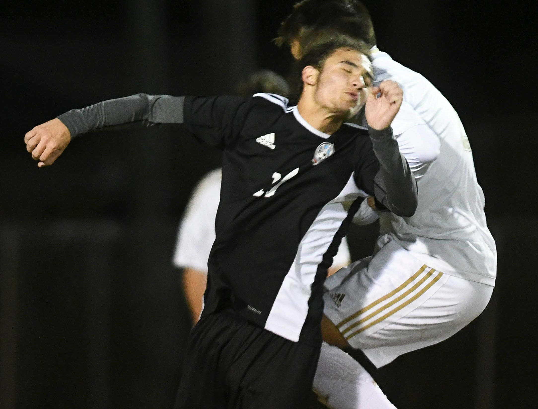 Christian Martinez of Rockledge heads the ball during Wednesday's District 12, Class 3A semifinal at McLarty Stadium