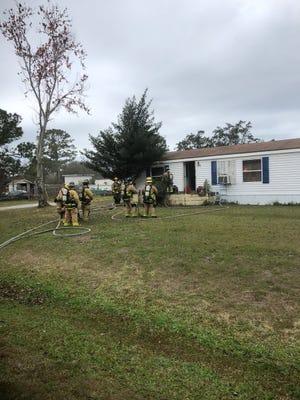 A fire damaged an attic of a Sharpes home Thursday.