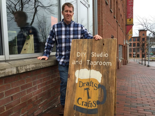 Co-owner Steve Roberge stands outside Drafts N Crafts in Winooski on April 4, 2018.