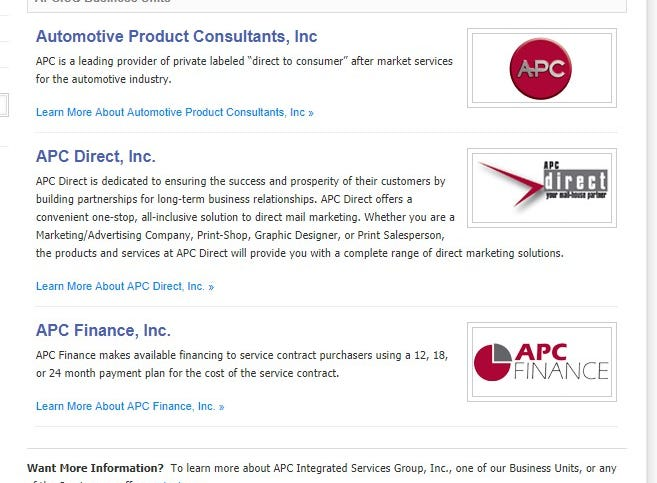 A screen grab of the Automotive Product Consultants, Inc. website from Jan. 31, 2019.
