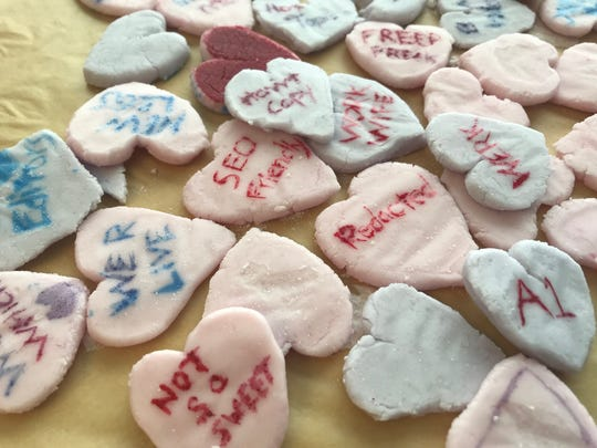 The Burlington Free Press newsroom handmade conversation hearts ahead of Valentine's Day 2019.