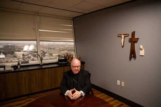 Bishop Michael Mulvey answers questions from the media after Diocese of Corpus Christi released a list of names of priests accused of sexual abuse of minors on Thursday, Jan. 31, 2019.