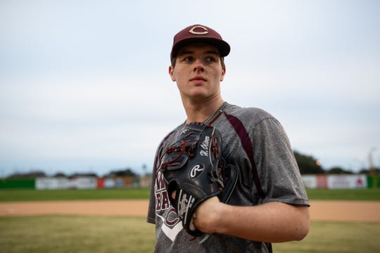 Calallen pitcher Hambleton Oliver during practice on Wednesday, Jan. 20, 2019.