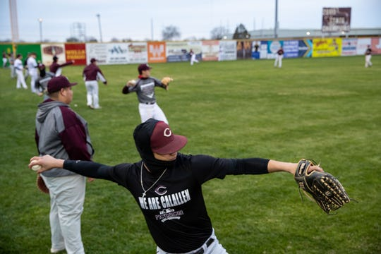 The Calallen baseball team warms up during practice on Wednesday, Jan. 20, 2019.