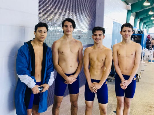 San Diego boys relay members David Gonzalez, Edoardo Meris, Mando Tunchez and Brandon Barrera qualified for the Region VIII-5A meet in the 200 freestyle relay and 200 medley relay.