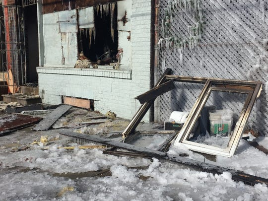 Firefighters faced icy conditions Thursday at a blaze in Camden's Bergen Square neighborhood.