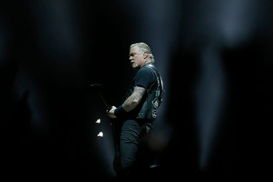 Metallica lead singer James Hetfield performs at US Bank Arena during the Cincinnati stop of the World Wired Tour on Wednesday, Jan. 30, 2019.