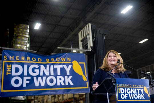 "Connie Schultz introduces her husband Senator Sherrod Brown for his ""Dignity of Work"" tour launch at Supply Side USA in Brunswick, Ohio Wednesday, January 30, 2019."