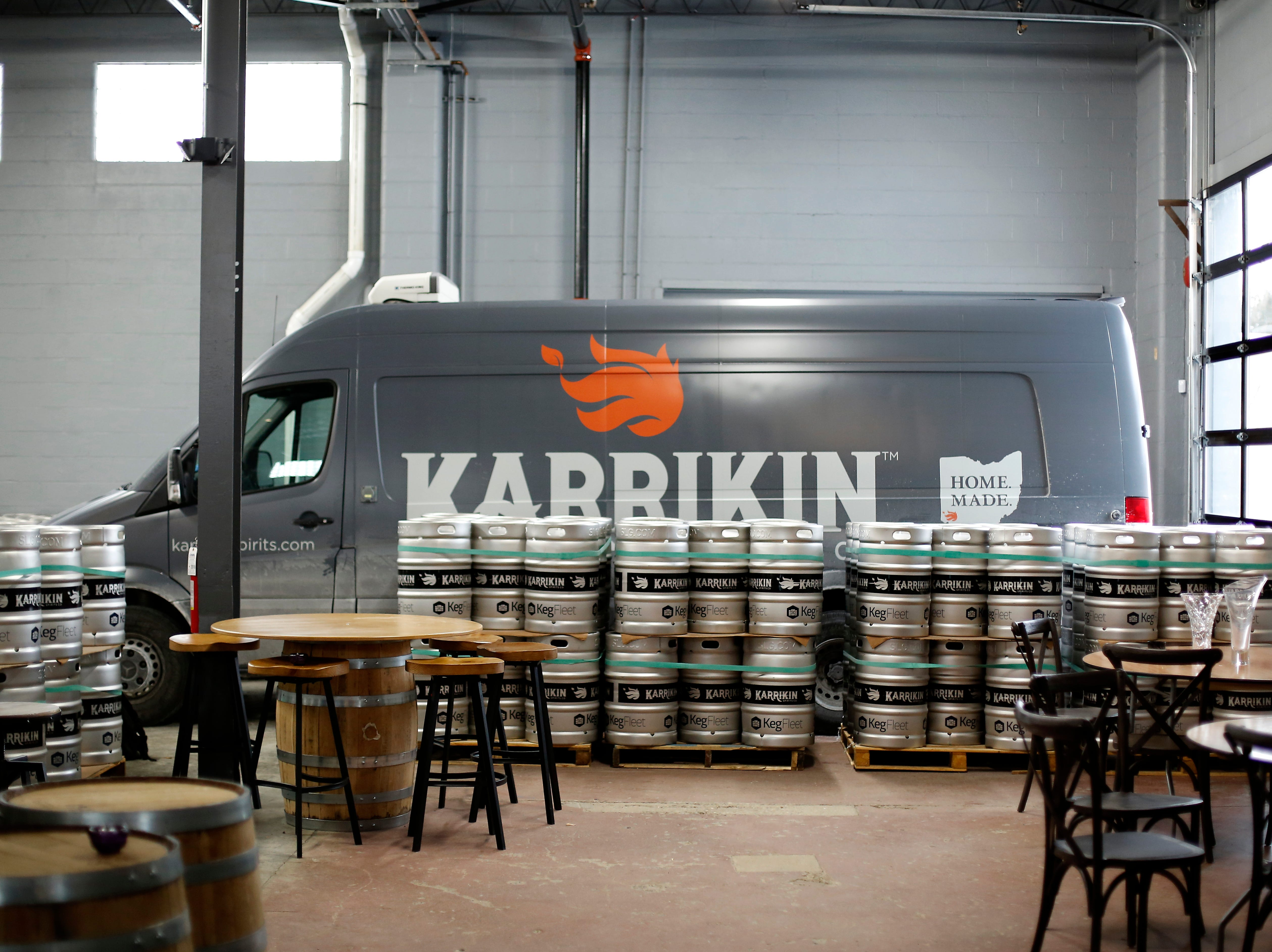 A delivery truck is pulled into the loading area at Karrikin Spirits Co. in the Fairfax neighborhood of Cincinnati on Thursday, Jan. 31, 2019.