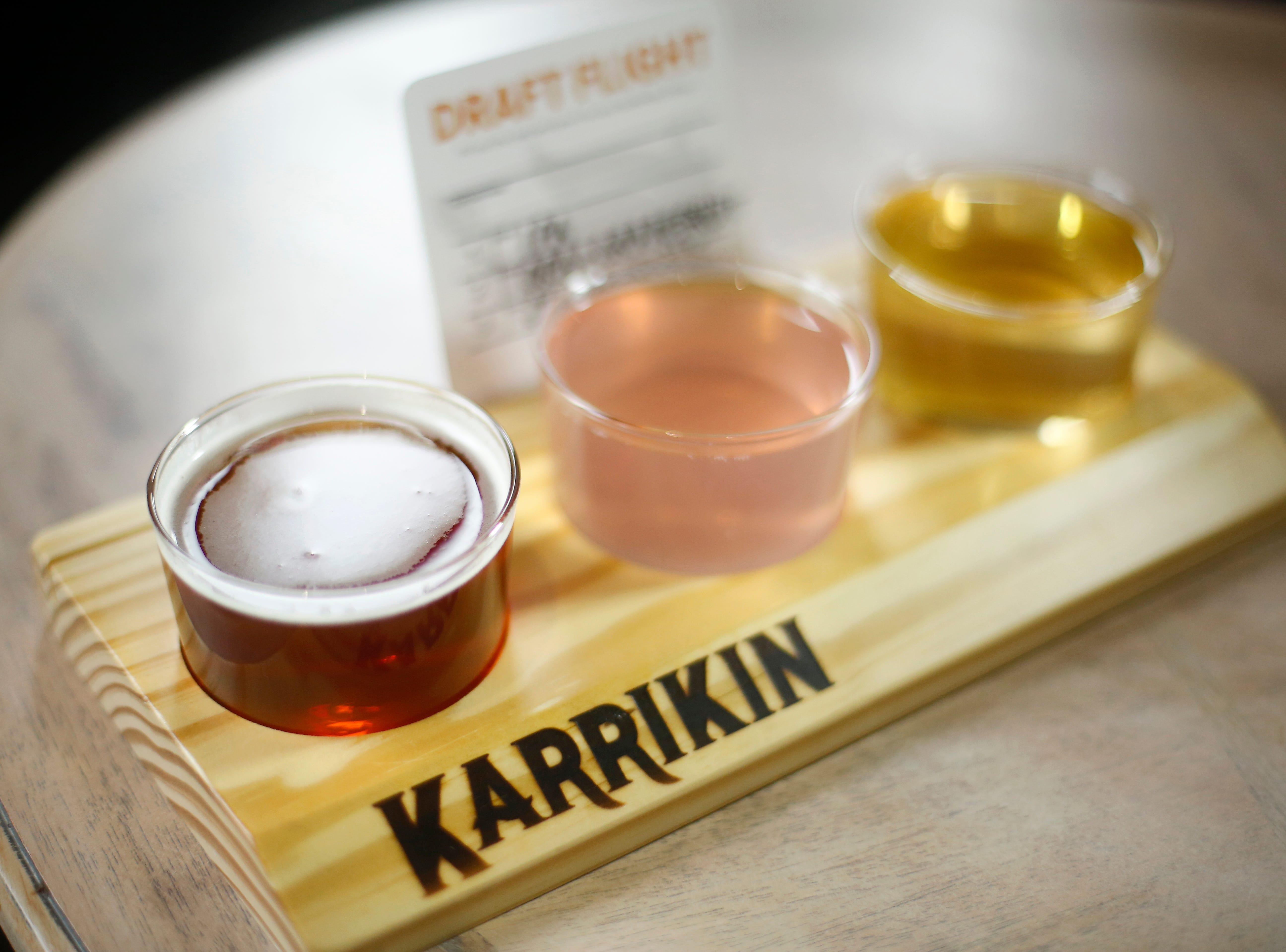 A flight of beer at Karrikin Spirits Co. in the Fairfax neighborhood of Cincinnati on Thursday, Jan. 31, 2019.