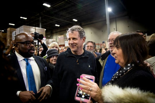 "Senator Sherrod Brown meets with the crowd after launching his ""Dignity of Work"" tour at Supply Side USA in Brunswick, Ohio Wednesday, January 30, 2019. The tour includes Iowa, New Hampshire, Nevada and South Carolina."