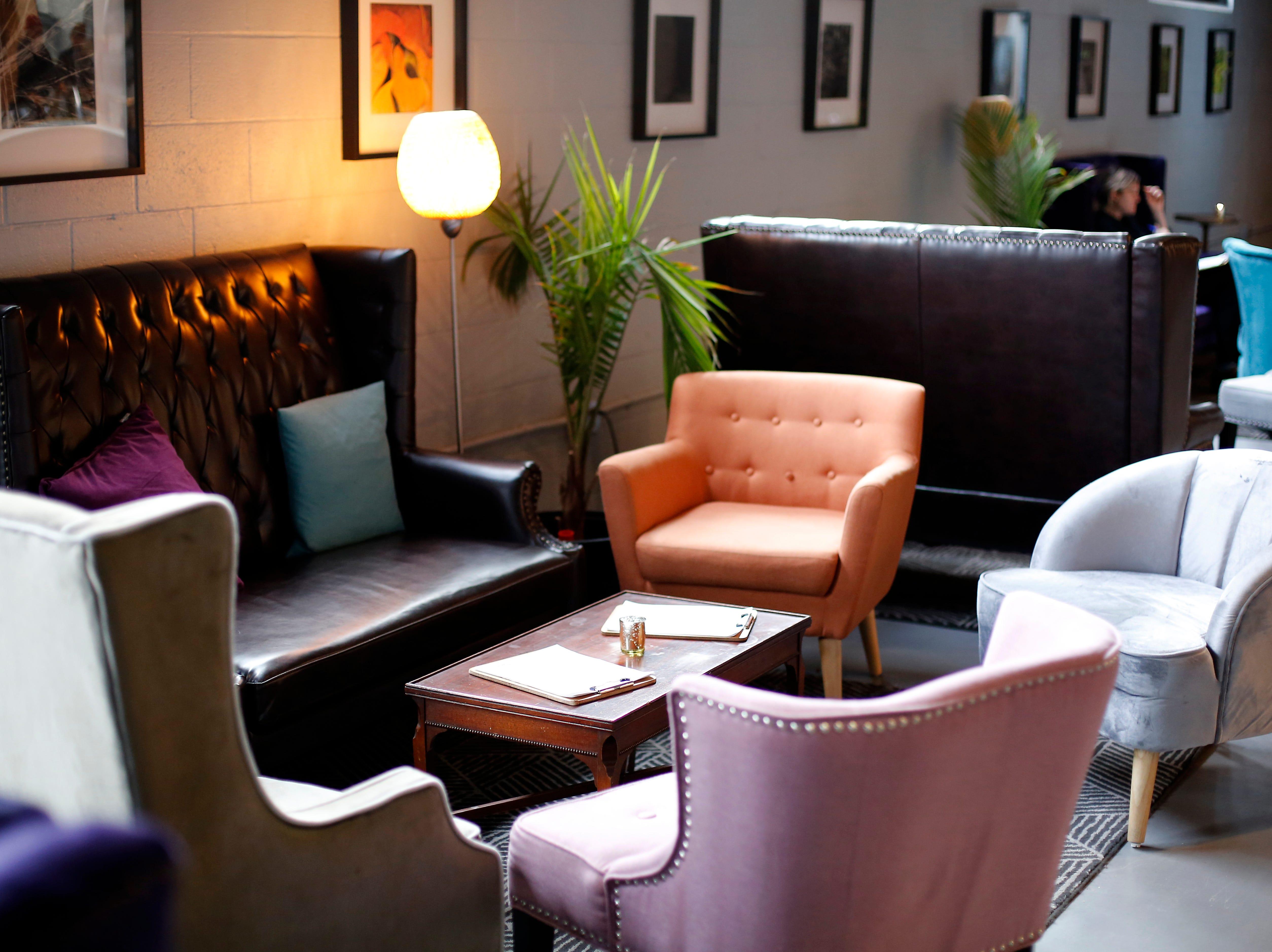 One of the many lounge areas at Karrikin Spirits Co. in the Fairfax neighborhood of Cincinnati on Thursday, Jan. 31, 2019.
