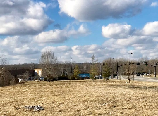 Here's a picture of the Chamber Drive property in Milford where a developer wants to build a hotel. It's next to a Walmart Superstore, a sign for which you can  see among the trees.