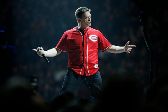 Standup comedian Jim Brewer wears a Ken Griffey Jr. jersey as he pumps up the crowd before Metallica performs at US Bank Arena during the Cincinnati stop of the World Wired Tour on Wednesday, Jan. 30, 2019.
