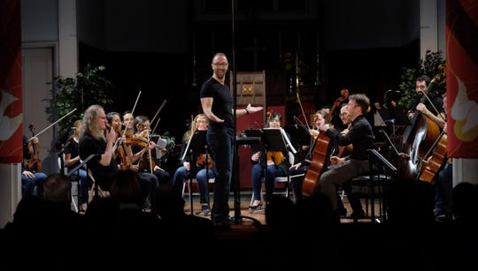 On Saturday, Feb.9, at 7:30 p.m.,at St. Paul's Episcopal Church in Westfield, new Music Director Mark Hyczko (center, standing) will conduct The New Brunswick Chamber Orchestra in the first Steeple Concert Series concertat St. Paul's.