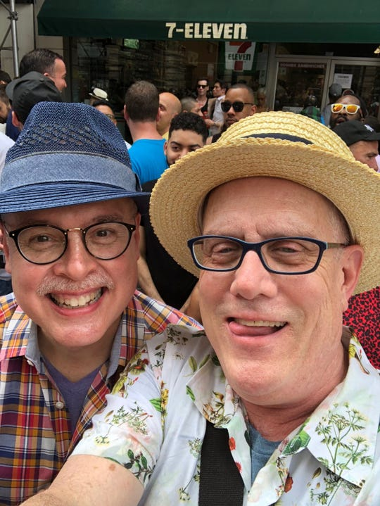 My husband, Ed Edwards, and I took a selfie at last year's New York New York City LGBT Pride March.