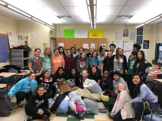 Here are the coats, hats and gloves collected by a group of Somerville Middle School students for our coat drive in early December. We collected 356 coats this year for distribution in our community.
