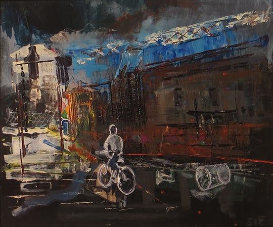 "Steven Epstein, ""Industrial Bike Ride,"" acrylic on hardboard"