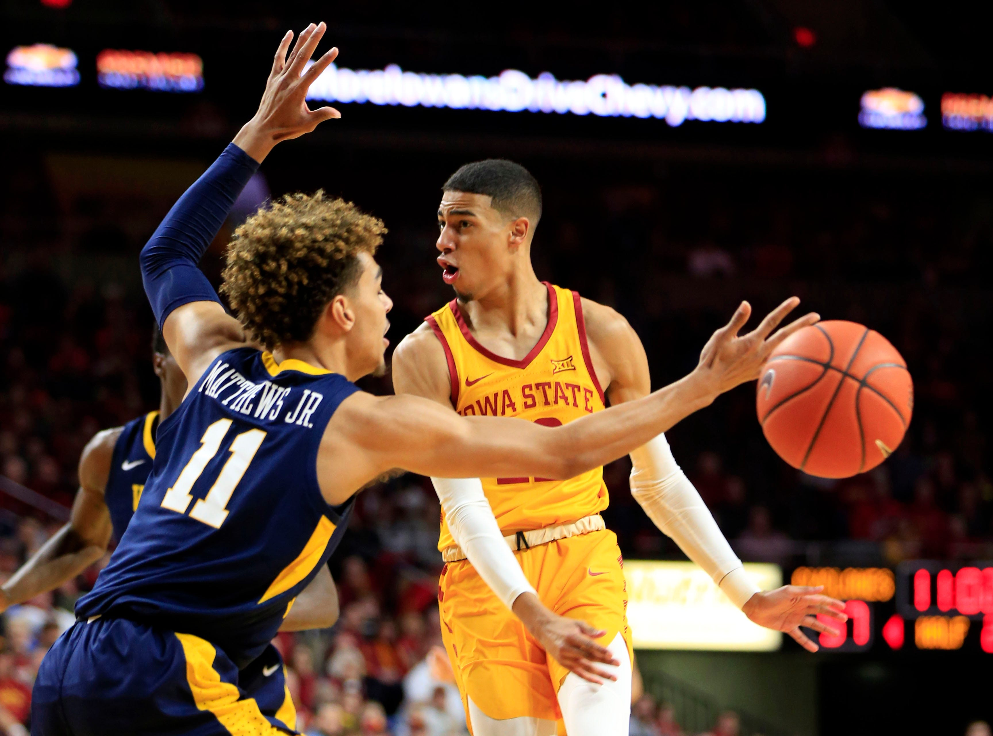 Iowa State's Tyrese Haliburton makes a pass during a game against West Virginia at Hilton Coliseum Wednesday, Jan. 30, 2019.