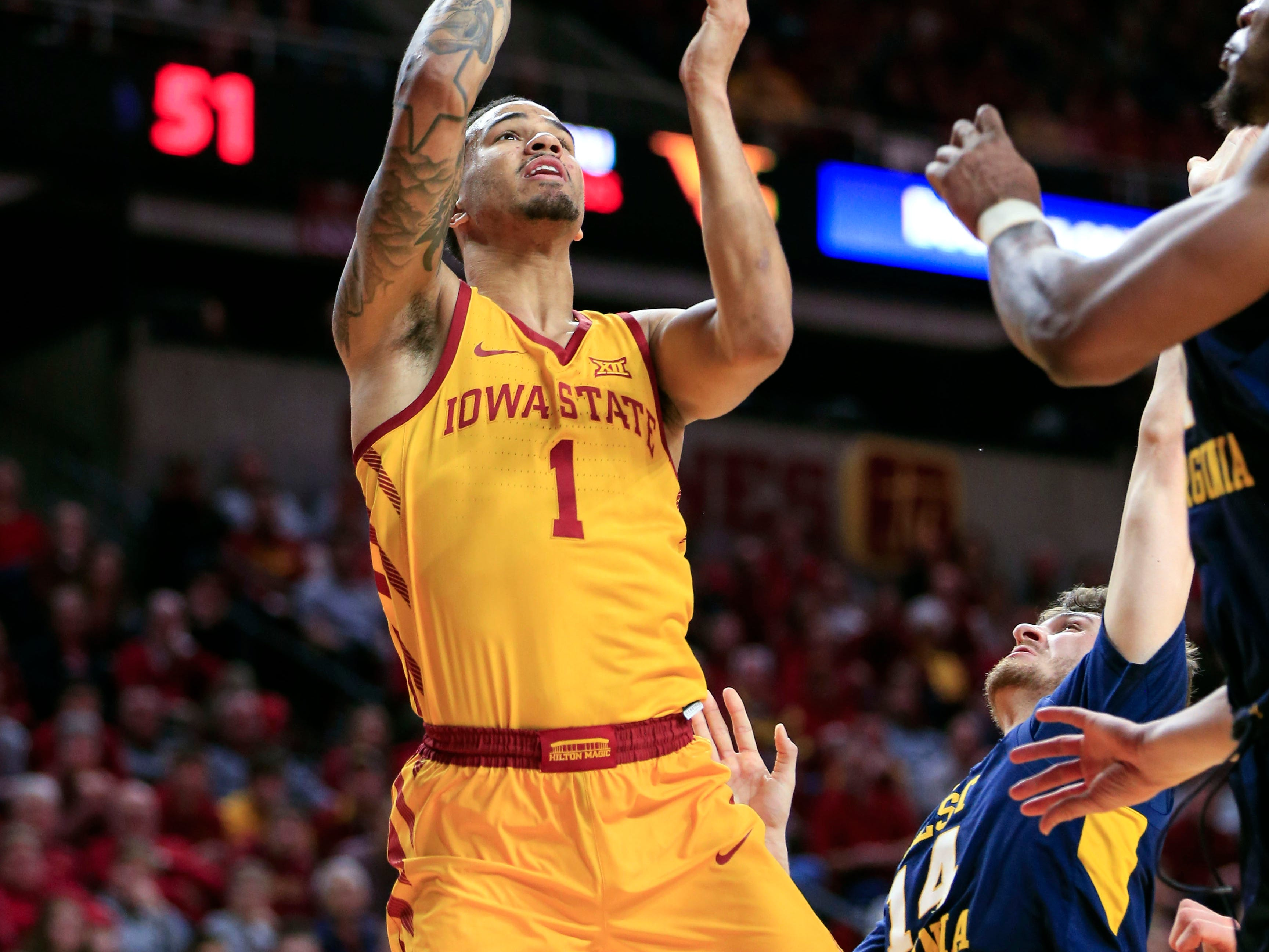 Iowa State's Nick Weiler-Babb puts up a shot during a game against West Virginia at Hilton Coliseum Wednesday, Jan. 30, 2019.