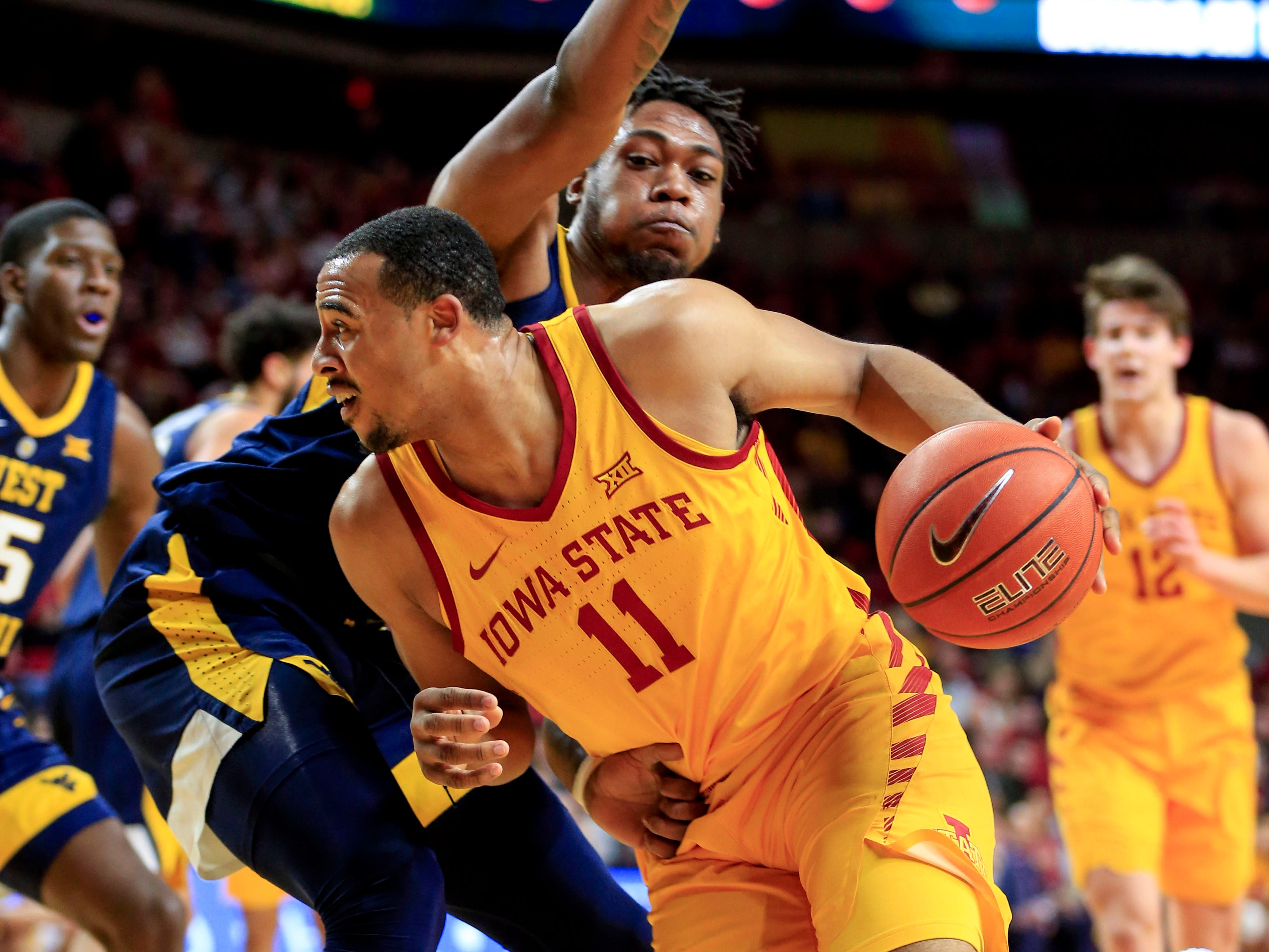 Iowa State's Talen Horton-Tucker drives to the basket during a game against West Virginia at Hilton Coliseum Wednesday, Jan. 30, 2019.