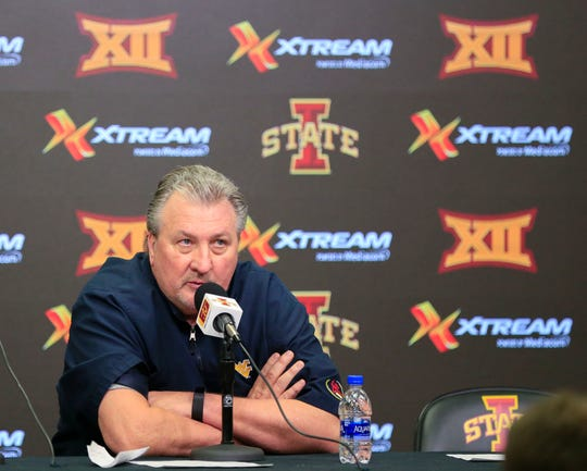 West Virginia Head Coach Bob Huggins gives a press conference after being ejected from a game against Iowa State at Hilton Coliseum Wednesday, Jan. 30, 2019.