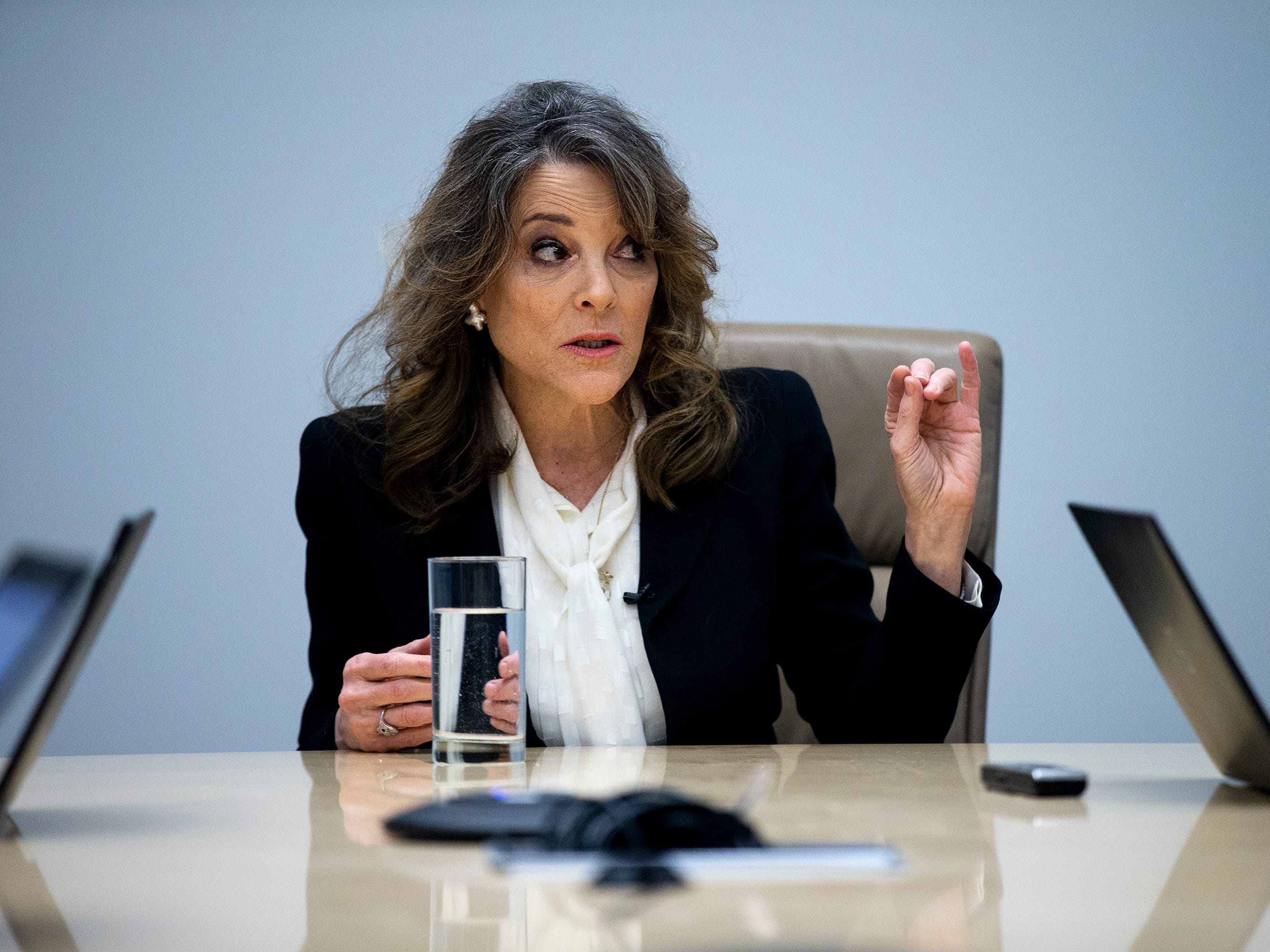 Presidential Candidate Marianne Williamson, a spiritual author and activist, meets with the Des Moines Register editorial board on Thursday, Jan. 31, 2019, in Des Moines