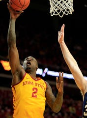 Iowa State's Cameron Lard drives to the basket during a game against West Virginia at Hilton Coliseum Wednesday, Jan. 30, 2019.
