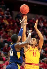 Iowa State's Talen Horton-Tucker puts up a shot during a game against West Virginia at Hilton Coliseum Wednesday, Jan. 30, 2019.