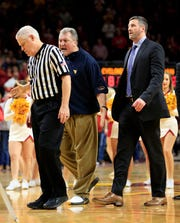 West Virginia Head Coach Bob Huggins is ejected from a game against Iowa State at Hilton Coliseum Wednesday, Jan. 30, 2019.