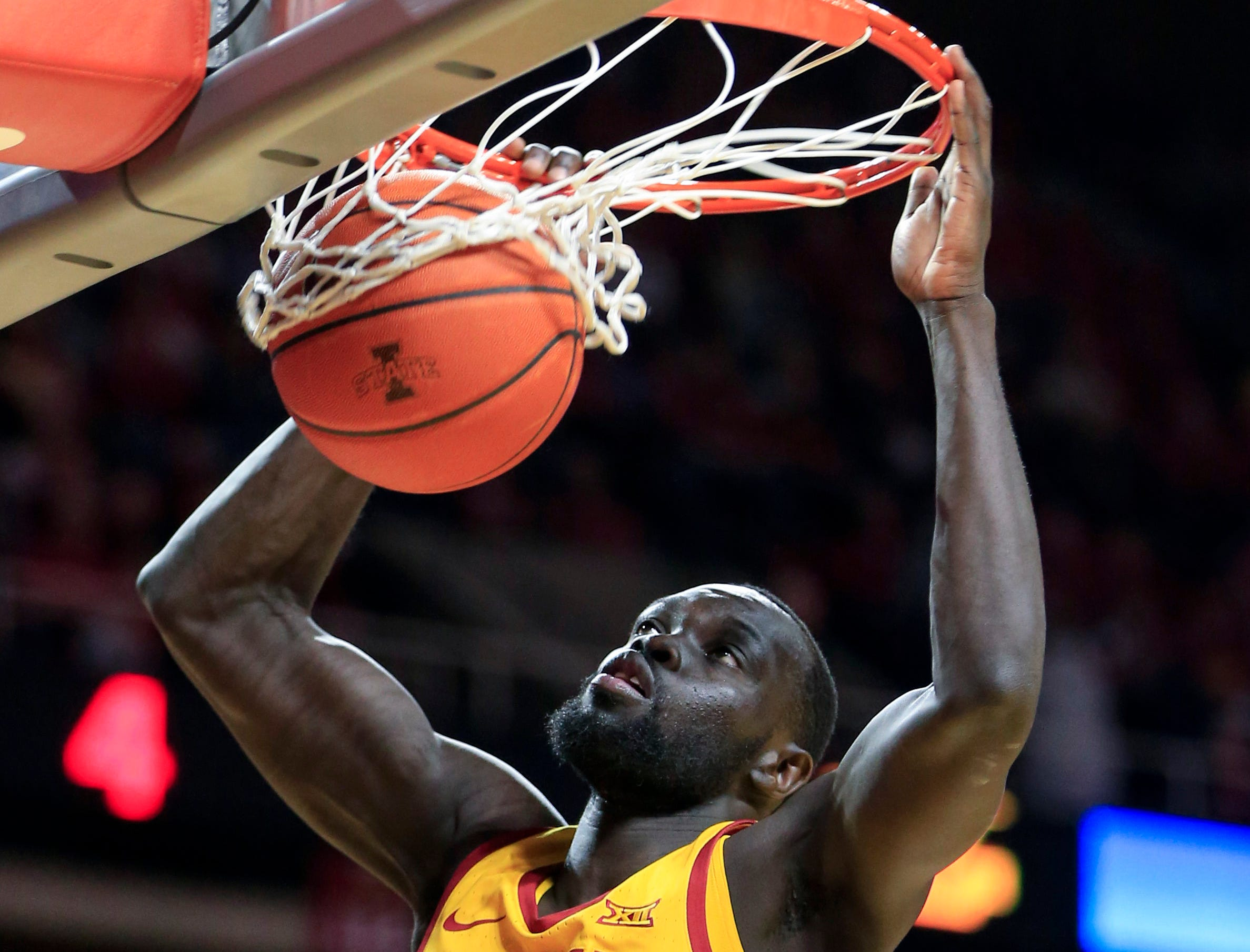 Iowa State's Marial Shayok dunks the ball during a game against West Virginia at Hilton Coliseum Wednesday, Jan. 30, 2019.