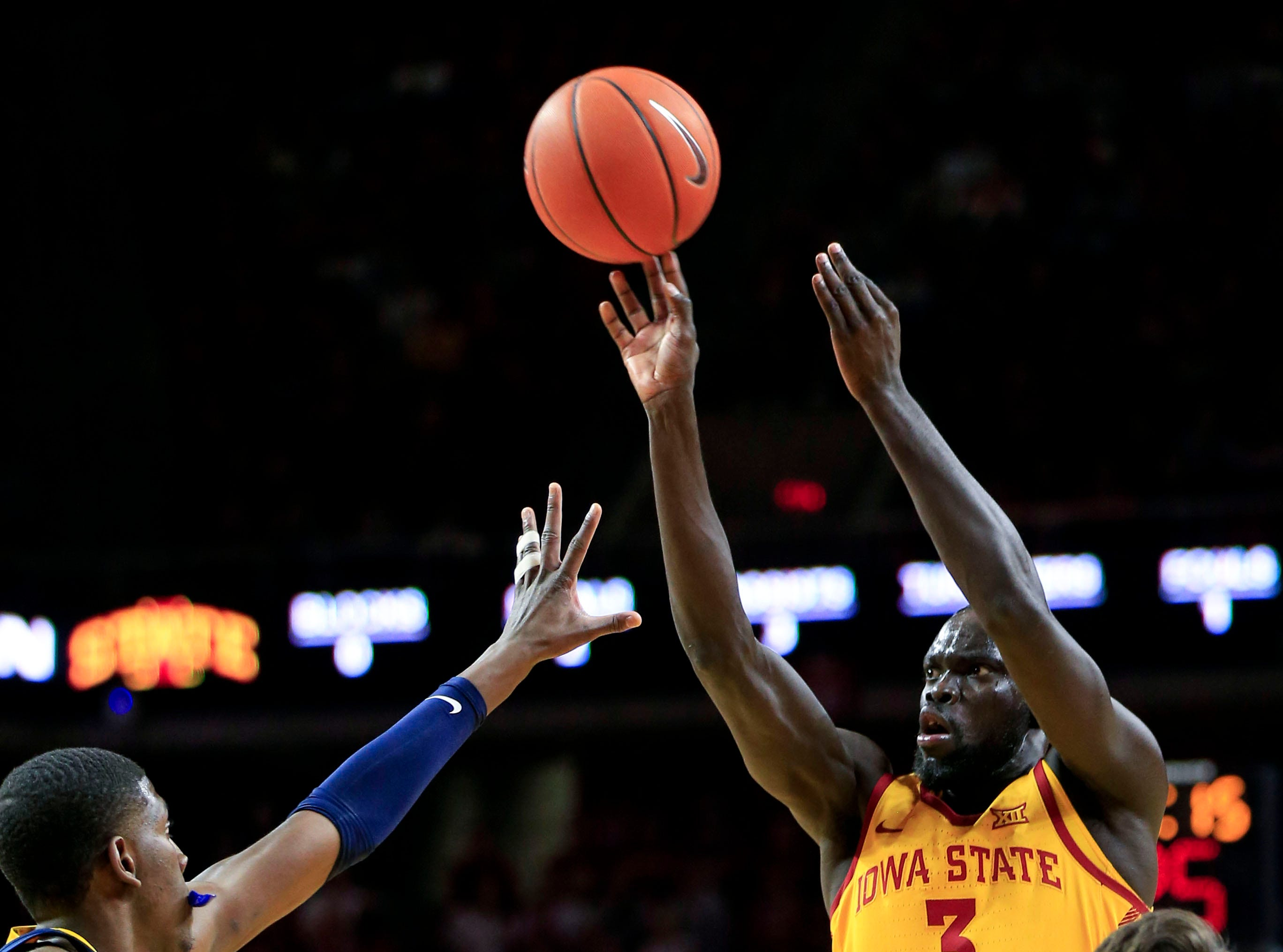 Iowa State's Marial Shayok puts up a shot during a game against West Virginia at Hilton Coliseum Wednesday, Jan. 30, 2019.