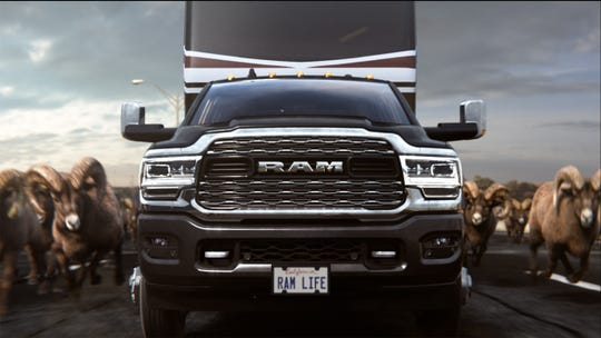 """Roll Rams Roll"" features a heard of rams making their way across the nation to the Big Game in Atlanta, Georgia, being greeted by fellow fans in the new Ram Heavy Duty truck."