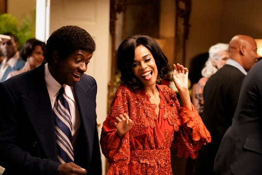 Sinqua Walls as Don Cornelius and Michelle Williams as Diana Ross from BET's -American Soul' episode 104.