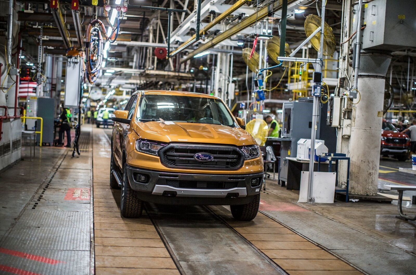 A 2019 Ford Ranger rolls off the assembly line in September during employee training at Michigan Assembly Plant.