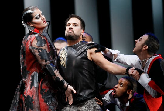 """Opera singer David Daniels, second from left, performs as Rinaldo, during the final dress rehearsal at the Lyric Opera of Chicago's production of """"Rinaldo"""" on Feb. 24, 2012."""