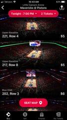 Screenshot of prices for Detroit Pistons vs. Dallas Mavericks game on Thursday, Jan. 31, 2019, at Little Caesars Arena.