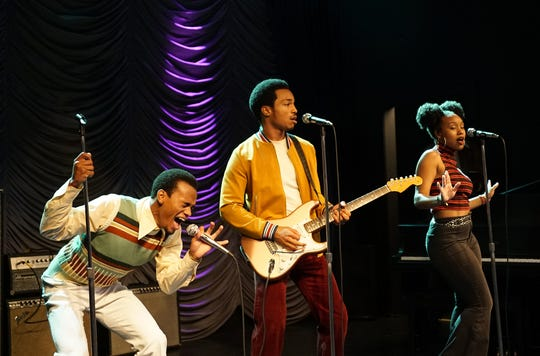 "From left: Jelani Winston as Kendall Clarke, Christopher Jefferson as Jeffrey ""JT"" Tucker, and Katlyn Nichol as Simone Clarke from BET's 'American Soul' episode 101."